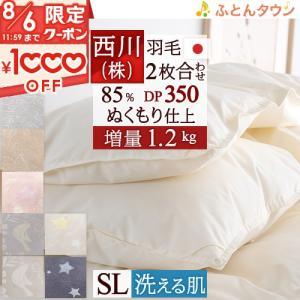 ◆商品名:西川リビング 2枚合わせ 羽毛布団 ダウン85% DP350 1.1kg  羽毛掛けふとん...