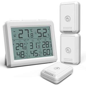 ORIA デジタル温湿度計 外気温度計 ワイヤレス 温度湿度計 室内 室外 三つセンサー 高精度 L...