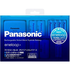 パナソニック エネループ ファミリーセット 単3形充電池 4本・単4形充電池 2本付き 単1形・単2...