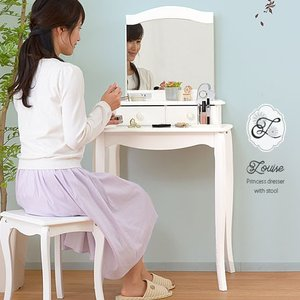 ドレッサー 白 姫系 おしゃれ アンティーク調 椅子付き 化粧台の写真