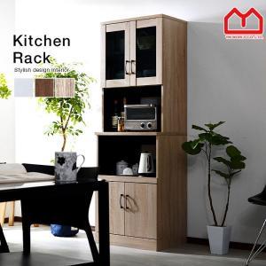食器棚 レンジ台 幅60cm キッチンラック おしゃれ 電子レンジ 北欧 レンジ台 食器棚の写真