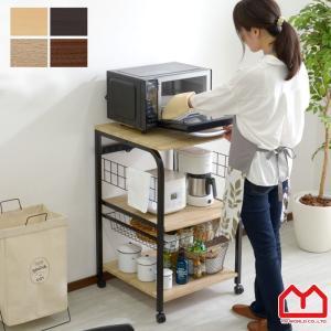 レンジ台 キッチンラック 幅55 大型 おしゃれ 収納 食器棚 キャスター スリム 小型の写真