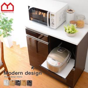 食器棚  レンジ台 キャスター付 食器棚 幅80 鏡面の写真
