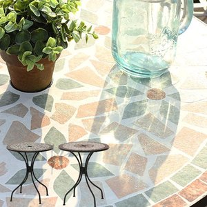モザイクテーブル スチール ガーデンテーブル 直径61cm 丸天板 モザイク柄 鋳物 テーブル 星柄 花柄 ガーデン ガーデンファニチャー ビーチ 海 モザイクタイル調 futureoffice