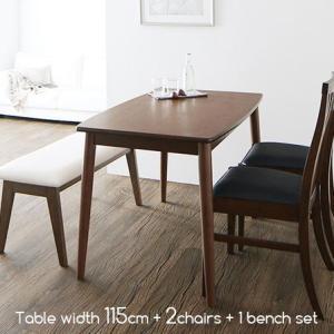 天然木 ダイニングテーブル チェア2脚 ベンチ1脚 4点セット 幅115cm ダイニング テーブル 椅子 長椅子 セット 食卓 食卓テーブル 4人 ダイニングセット おしゃれ|futureoffice