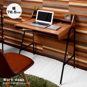 デスク 幅78.5cm 棚板付き 木製 スチール製 ブラック ナチュラル 机 アジャスター付き 学習机PCデスク パソコンデスク 学習デスク スリムデスク pcデスク|futureoffice