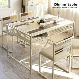 木製 ダイニングテーブル ハンドメイド風 幅120cm 棚付き 古木風 食卓 ハイテーブル リビングテーブル マルチテーブル ウッド アイアン製 ホワイト 白|futureoffice