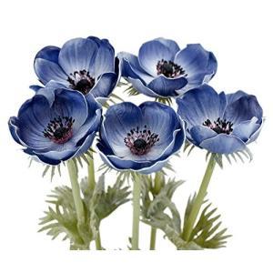 FiveSeasonStuff 5本 ブルー アネモネ 造花 イチリンソウ 花束 インテリア 飾り 50cm|futureshop