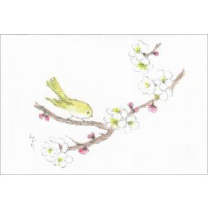 布だより 梅とウグイス/野の花 絵葉書 布のはがき/阿見みどり/63円切手で送れます <レターパックライト対応>|fuusouka