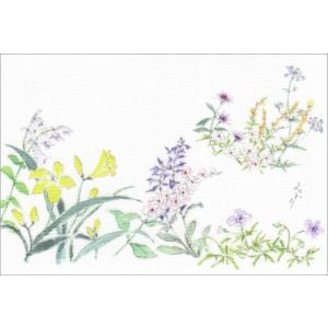 布だより 花ガーデン/野の花 絵葉書 布のはがき/阿見みどり/63円切手で送れます <レターパックライト対応>|fuusouka