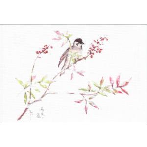 布だより 南天と雀/野の花 絵葉書 布のはがき/阿見みどり/63円切手で送れます <レターパックライト対応>|fuusouka
