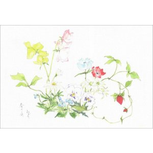 布だより 春の庭No.2/野の花 絵葉書 布のはがき/阿見みどり/63円切手で送れます <レターパックライト対応>|fuusouka