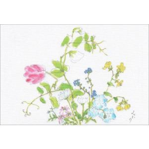 布だより 春の庭/野の花 絵葉書 布のはがき/阿見みどり/63円切手で送れます <レターパックライト対応>|fuusouka
