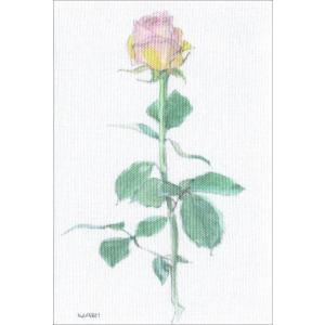 布だより 薔薇(一輪)/野の花 絵葉書 布のはがき/永橋為成/63円切手で送れます <レターパックライト対応>|fuusouka
