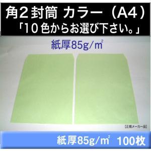 角2封筒 カラー封筒 選べる10色 紙厚85g/m2 100枚 角形2号 A4