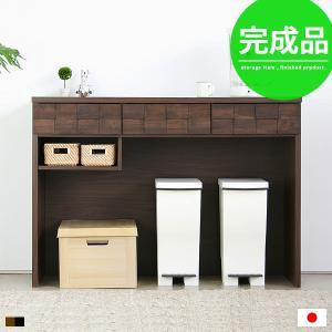 キッチンカウンター 食器棚 ゴミ箱 ゴミ箱収納 キッチン 収納 棚 カウンター 120 完成品 間仕切りの写真