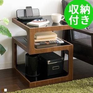 サイドテーブル おしゃれ 北欧 ガラス天板 木製 収納 ベッドサイドテーブル ソファーサイドテーブル...