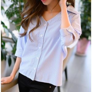ストライプシャツ 五分袖 オフィス 通勤 ブラウス 大きいサイズ お出かけ 春 初夏|g-c