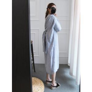 シャツドレス 半袖 ミモレ丈 部屋着 ルームウェア ワンサイズ 不規則裾 ストライプ 青 g-c