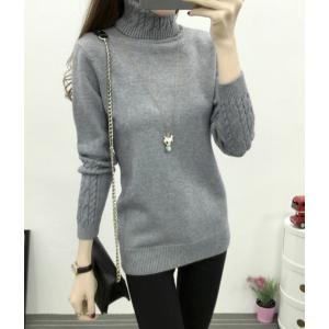 全4色 セーター 長袖 ハイネック カジュアル デイリー 大きいサイズ 韓国 ブラック 黒 ホワイト 白 グレー カーキ 茶|g-c