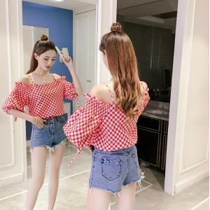 プルオーバーシャツ 半袖 カジュアル デイリー ワンサイズ ランタンスリーブ キャミソール 赤 橙 緑 黒 g-c