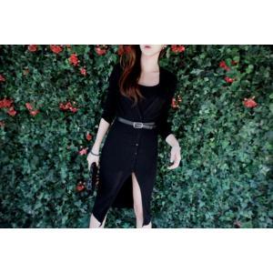 ロングカーディガン セーター 長袖 カジュアル ワンサイズ フリーサイズ 黒 ダークグレー|g-c|03
