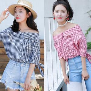 シャツ ブラウス 七分袖 ギンガムチェック ピンク ブルー 韓国 夏 g-c