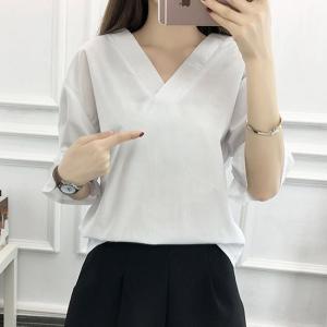 シャツ ブラウス 七分袖 白 ホワイト  大きいサイズ 韓国 夏 g-c