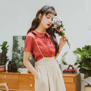 シャツ ブラウス 半袖 レッド 赤 韓国 夏 g-c
