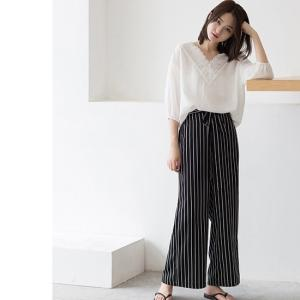 ワイドパンツ ブラック ホワイト 夏 韓国 黒 白|g-c