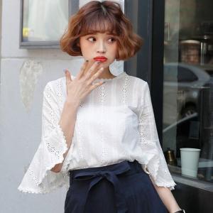 シャツ ブラウス 七分袖  白 ホワイト 韓国 春夏 大きいサイズ g-c