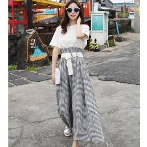 ハイウエストスカート ツーピース Tシャツ ロング丈 ホワイト 夏 韓国 黒 白|g-c
