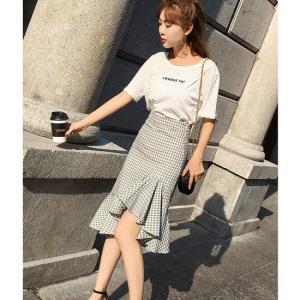 フィッシュテールスカート  ひざ丈  グレー  アプリコット  ブラック ホワイト 夏 韓国|g-c