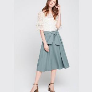 フレアスカート ミモレ丈 ブルー グリーン 大きいサイズ 韓国 夏|g-c