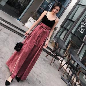 ハイウエストスカート レッド ロング マキシ丈 韓国 夏|g-c