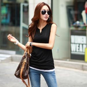 シャツ Tシャツ カットソー ノースリーブ 白 黒 ホワイト ブラック 大きいサイズ 韓国 夏 g-c