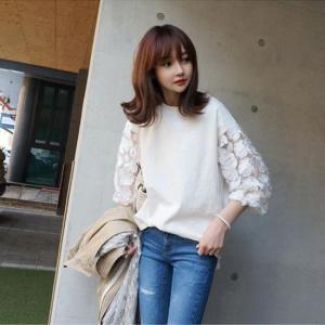 ブラウス Tシャツ 五分袖 七分袖 レース きれいめ 上品 大きなサイズ ホワイト ブラック 韓国 g-c
