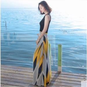 フレアスカート ロング丈 シフォン ダイヤカット 大きいサイズ イエロー ネイビー 韓国|g-c
