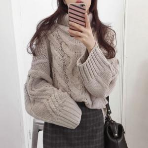 ニット セーター 長袖 模様編み タートルネック デート お出掛け ベージュ 韓国|g-c