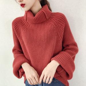 ニット セーター 長袖 リブ編み タートルネック デート お出掛け 赤 ピンク 黄 白 韓国|g-c