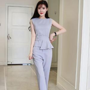 オールインワン パンツスーツ ノースリーブ ストライプ ビジネス フリル 大きいサイズ ネイビー グレー 韓国|g-c