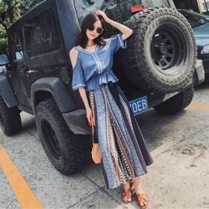 オールインワン パンツ セットアップ 半袖 ノースリーブ リゾート 旅行 アジアン 大きいサイズ ブルー ホワイト 韓国|g-c