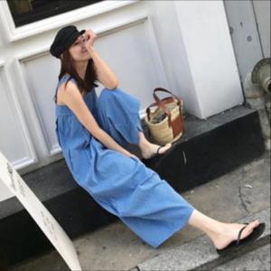 オールインワン ワイドパンツ ロング丈 ストライプ ノースリーブ 大きいサイズ ブルー ネイビー 韓国|g-c