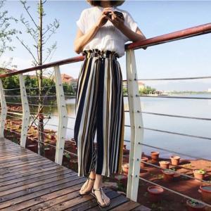 ワイドパンツ ガウチョ ストライプ カジュアル リボン パンツ ロング丈 体型カバー 大きいサイズ イエロー ブルー ブラウン 韓国|g-c