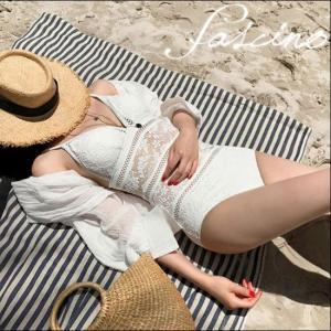 ワンピース水着 レース  セクシー エレガント ビーチ リゾート プール 大きいサイズ 黒 白 韓国 g-c