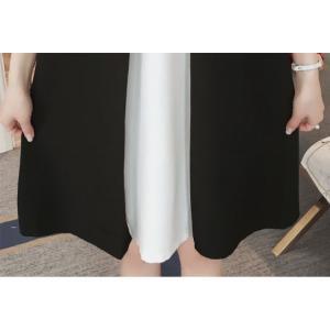 マタニティドレス ワンピース 膝丈 ひざ丈 ショート丈 ノースリーブ リボン 体型カバー カジュアル お出掛け 大きいサイズ ホワイト ブラ|g-c|08