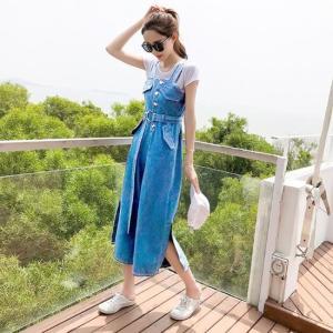 オールインワン ワイドパンツ オーバーオール ノースリーブ ボタン ベルト デニム お出掛け デート 旅行 大きいサイズ ブルー 韓国|g-c