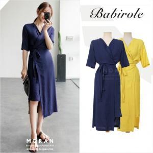 ワンピース ミモレ丈 Vネック 5分袖 サロンスカート サマードレス 大きいサイズ 韓国 g-c