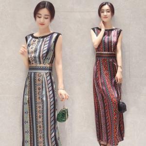 ワンピース ドレス ノースリーブ ロング丈 スリット レトロ 大きいサイズ ボヘミアン リゾート 赤 緑 韓国|g-c