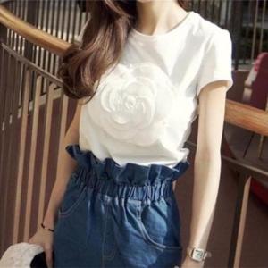 Tシャツ カットソー 半袖 花柄 カジュアル ガーリー かわいい デート 女子会 韓国 ホワイト 白 g-c